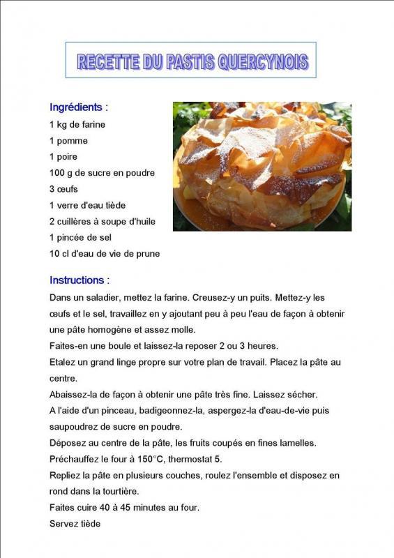 Recette pastis quercynois